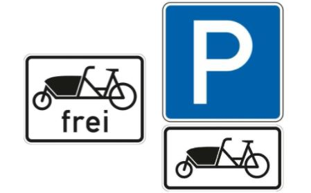 """Neue Verkehrszeichen: """"Lastenfahrräder frei"""" und """"Parken für Lastenfahrräder"""""""