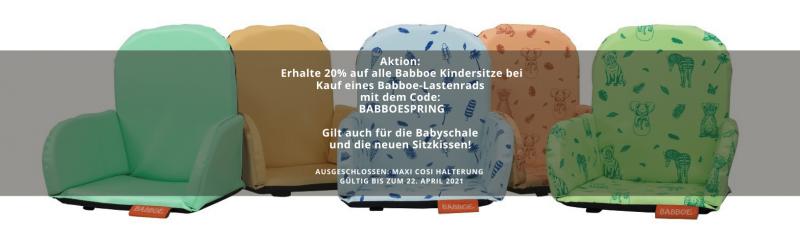 aktion 20% auf kindersitze von babboe bei kauf eines babboe lastenrads mit dem code babboespring