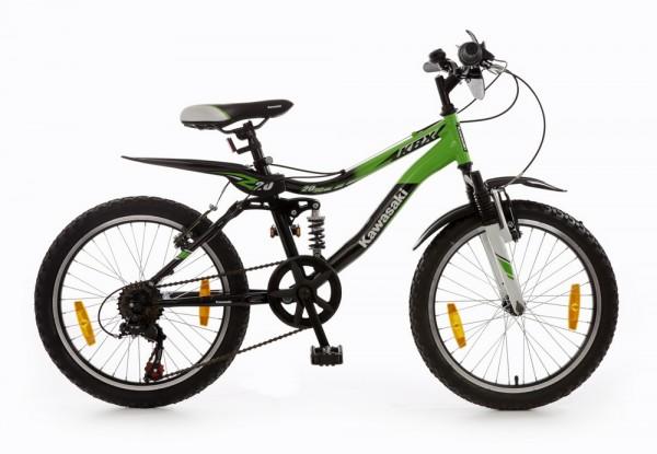Kinderfahrrad Bachtenkirch Kawasaki KBX 6 - 20 Zoll 6 Gang - grün/schwarz