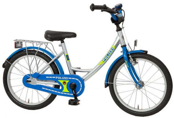 Kinderfahrrad Bachtenkirch Polizei klassisch 18 Zoll - blau-silber-gelb