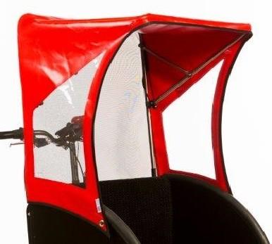 Bakfiets Rikscha Regenverdeck Rot